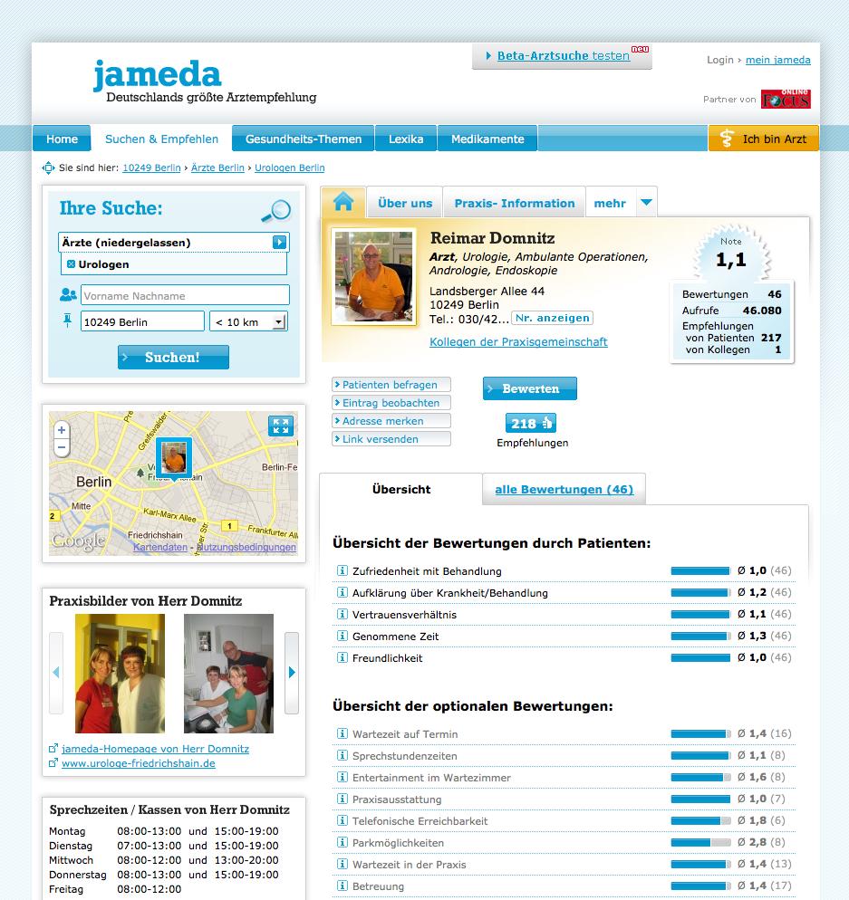 Arzt Seite bei Jameda