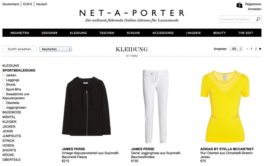 Net a Porter Sportmode Sportbekleidung