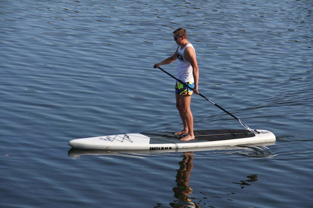 Wellenreiten-Boards Weitere Wassersportarten Stand Up Paddle Surfboard aufblasbar rot und weiß günstig kaufen