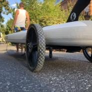 SUP Transport mit dem Fahrrad. SUP Wheels Transportwagen im Test